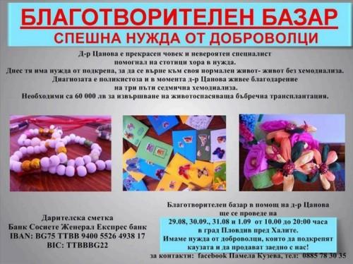 Търсят се доброволци за благотворителна акция в Пловдив в помощ на д-р Цанова