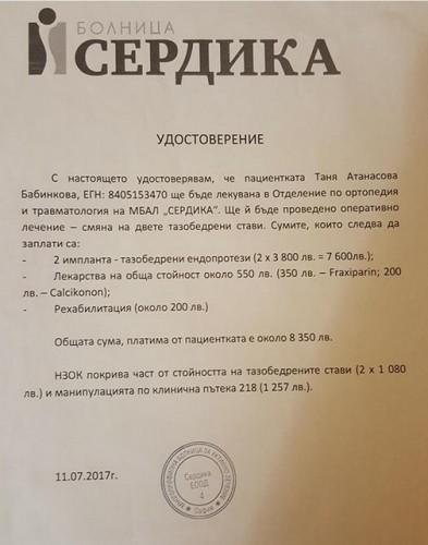 Общински съветници дариха по една заплата за болна жена
