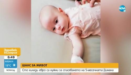 100 000 евро са нужни за спасяването на 5-месечната Димана